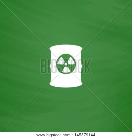 Radioactive waste Simple line vector button. Imitation draw with white chalk on blackboard. Flat Pictogram and School board background. Outine illustration icon