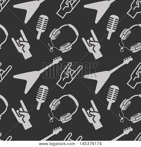 Rock 'n' Roll pattern with guitar. Vector illustration.