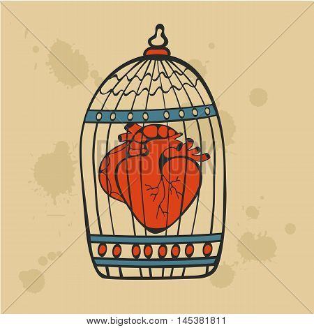 Human heart in a cage. Vector illustration.