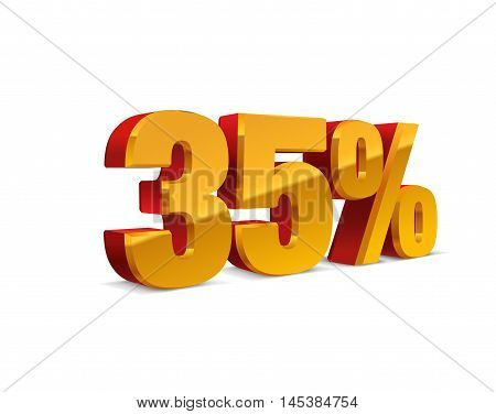 35% percent off, sale background, red-golden-yellow object 3D. Eps10 Vector.