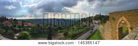 Panoramic view of medieval hilltop town, Montalcino, Tuscany, central Italy