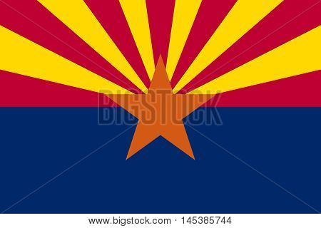 Flag of the US state of Arizona in correct size proportions and colors. Accurate dimensions. Arizonian official symbol. American patriotic element. USA banner. United States of America background. Vector illustration