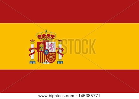 Flag of Spain in correct size proportions and colors. Accurate dimensions. Spanish national flag. Vector illustration