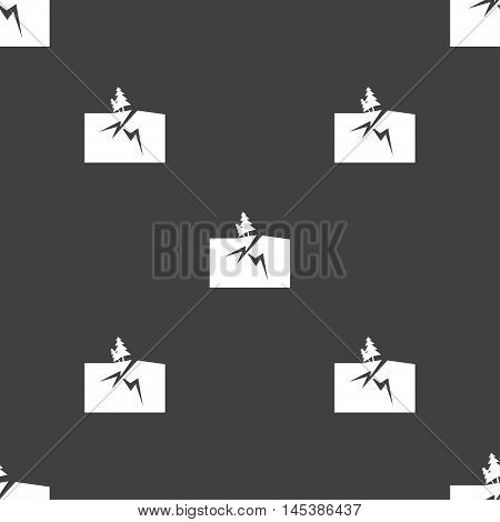 Property Insurance Icon Sign. Seamless Pattern On A Gray Background. Vector