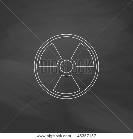 Radiation Simple line vector button. Imitation draw with white chalk on blackboard. Flat Pictogram and School board background. Outine illustration icon