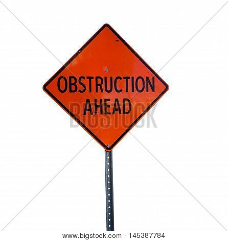obstruction ahead sign on street before roadwork