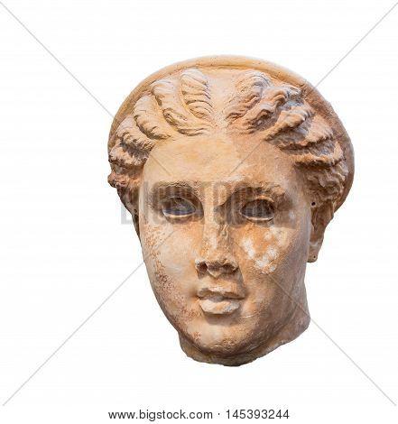 Goddess Artemis head found in Lycosura, Arcadia, ancient Greek sculpture.