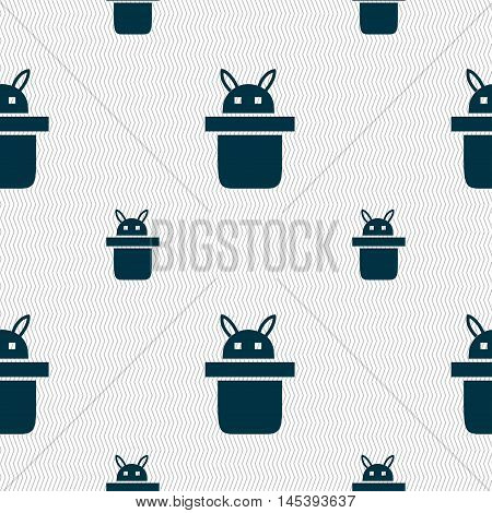 Magician Hat. Rabbit Ears Icon Sign. Seamless Pattern With Geometric Texture. Vector
