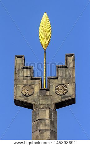 YEREVAN ARMENIA - AUGUST 19 2016:Monument with Golden leaf on Cascade in Yerevan, Armenia, one of the oldest cities in the world.