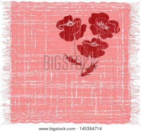 Pink grunge striped weave rectangular serviette with applique of red poppy and fringe