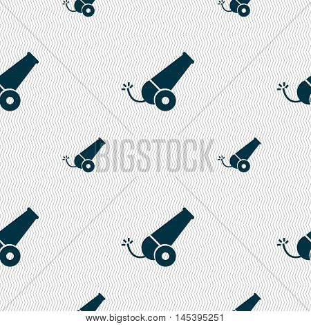 Cannon Icon Sign. Seamless Pattern With Geometric Texture. Vector