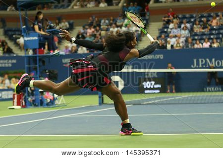 NEW YORK - AUGUST 30, 2016: Grand Slam champion Serena Williams in action during first round match at US Open 2016 at Billie Jean King National Tennis Center in New York