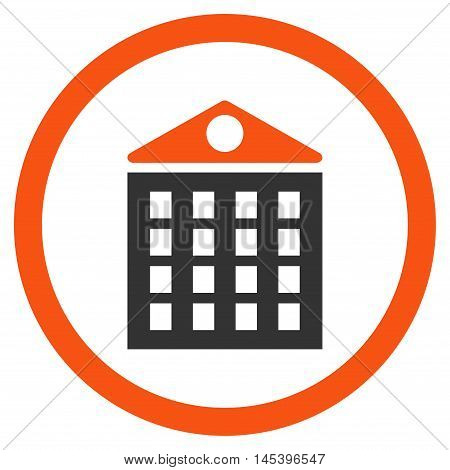 Multi-Storey House rounded icon. Vector illustration style is flat iconic bicolor symbol, orange and gray colors, white background.