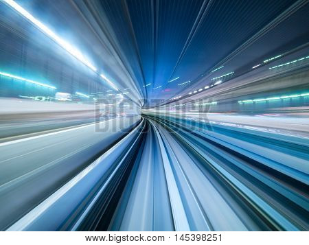 Motion blur of train moving inside tunnel in Tokyo Japan