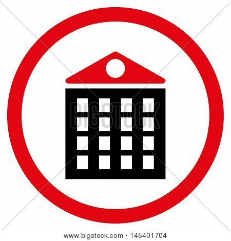 Multi-Storey House rounded icon. Vector illustration style is flat iconic bicolor symbol, intensive red and black colors, white background.