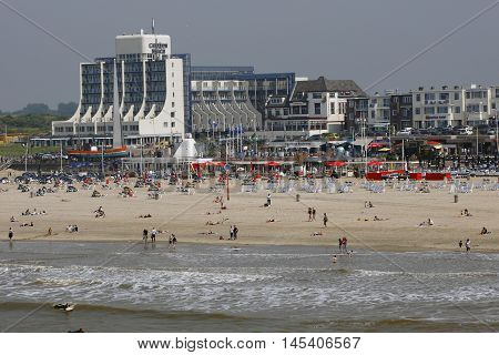 DEN HAAG, NETHERLANDS - JUNE 4: View on beach district Scheveningen with the Hotel Carlon Beach in Den Haag on June 4 2016