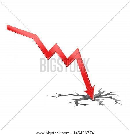 3D Illustration of falling economy with surface crack the concept of economic crisis vector of falling rates of trade eps 10