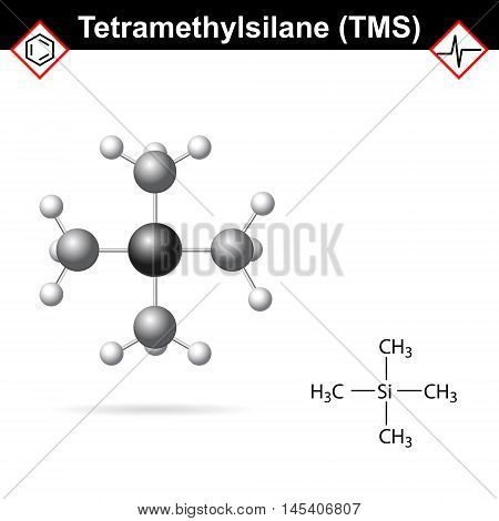 Tetramethylsilane - TMS structure internal standard for proton magnetic resonance analysis 2d and 3d illustration vector eps 8