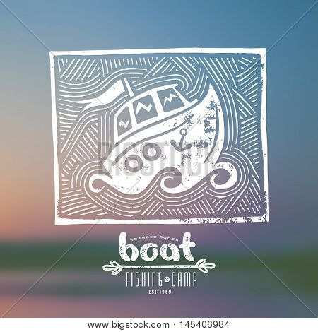 Stock vector linocut with a picture of boat. Graphic design for t-shirt. White print on blurred background
