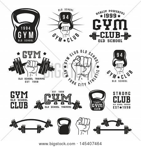 Stock vector illustration of gym club emblem and design elements. Black print on white background