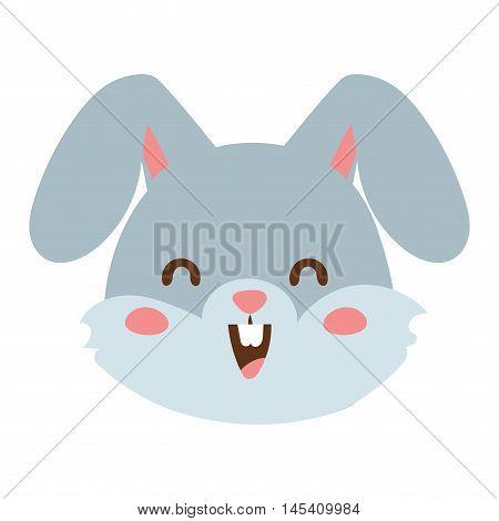 Cute animal rabbit head emotion vector avatar. Cartoon happy rabbit animal emotion expression isolated face character. Adorable mammal emojji avatar animal emotions. Animal rabbit character