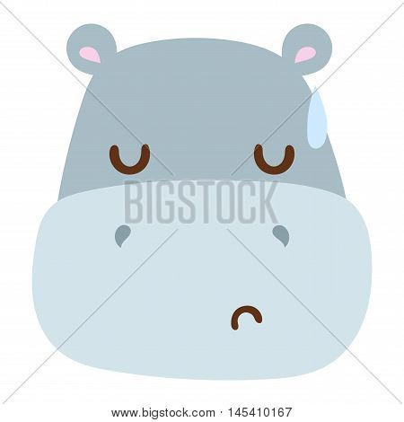 Cute animal hippo head emotion vector avatar. Cartoon happy hippo animal emotion expression isolated face character. Adorable mammal emojji avatar animal emotions. Animal hippo character