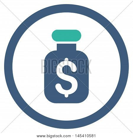 Business Remedy rounded icon. Vector illustration style is flat iconic bicolor symbol, cobalt and cyan colors, white background.