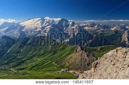 Dolomiti - aerial view of Pordoi pass and Marmolada mount from Sass Pordoi Trentino Italy