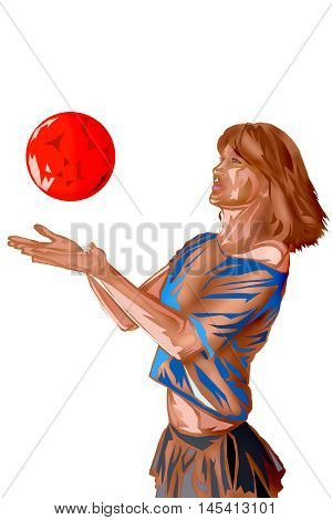 illustration with scene of the girl playing with ball
