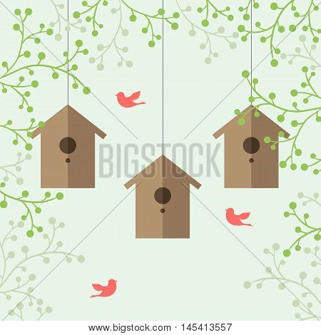 Vector illustration of nesting boxes, green branches and pink birds on light green background.