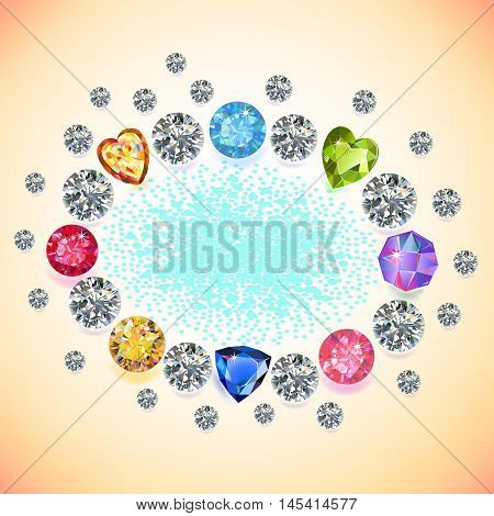 Colored gems oval frame isolated on light background vector illustration