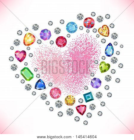 Colored gems heart shape frame isolated on light background vector illustration