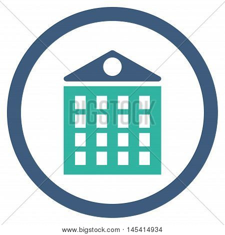 Multi-Storey House rounded icon. Vector illustration style is flat iconic bicolor symbol, cobalt and cyan colors, white background.