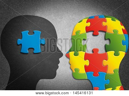 Human head to missing pieces of puzzle