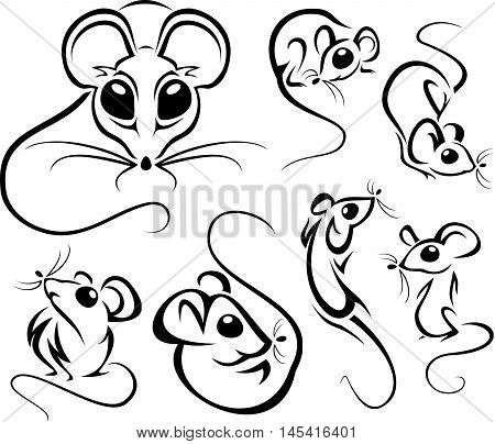 Set Of Outline Cute Mice