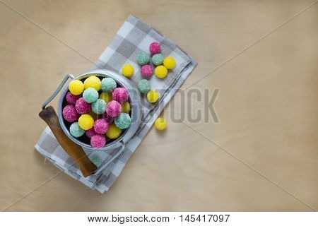 Churn full of bonbons on a napkin, copy space