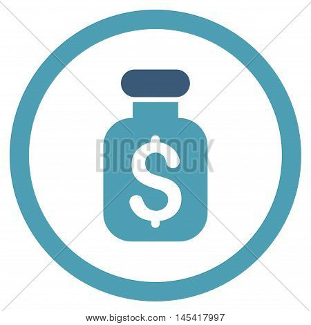 Business Remedy rounded icon. Vector illustration style is flat iconic bicolor symbol, cyan and blue colors, white background.