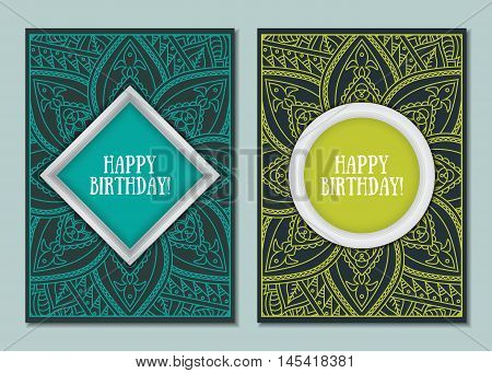 Cute colorful mandala cards design for holiday greeting party wedding invitation birthday. Ornamental zentangle frame. Indian east style. Vector illustration.