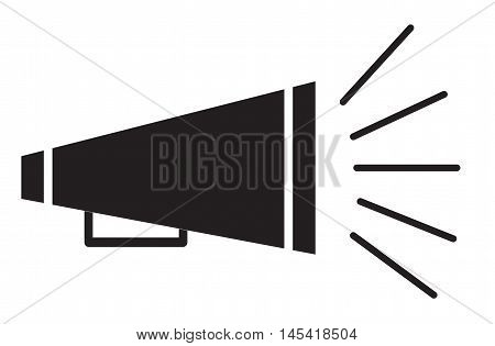 bullhorn symbol, bullhorn icon, bullhorn on white background