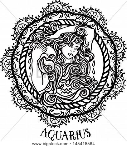 Detailed Aquarius in aztec filigree line art zentangle style. Tattoo coloring page for adult. T-shirt design. Zodiac Aquarius tribal decorative wool pattern. beautiful woman with jug of water Vector