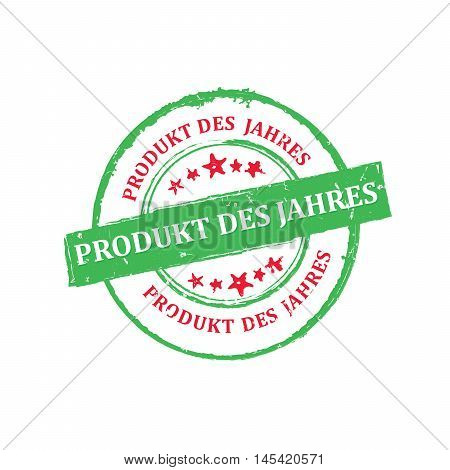 The best Product of the Year, consumer's choice (German language: Produkt des Jahres, von konsumenten gewahlt) - grunge stamp / label, for print. Grunge layer is applied exactly on the colored stamp
