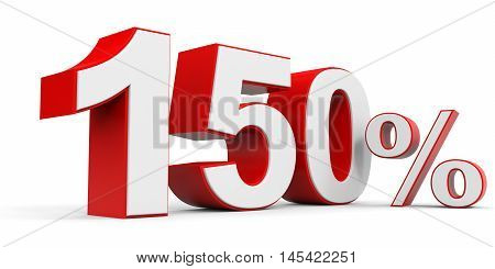 Discount 150 percent off on white background. 3D illustration.