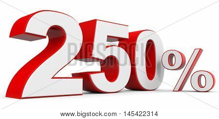 Discount 250 percent off on white background. 3D illustration.