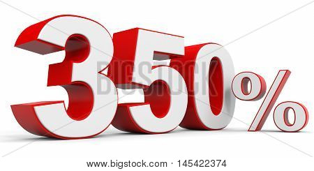 Discount 350 percent off on white background. 3D illustration.