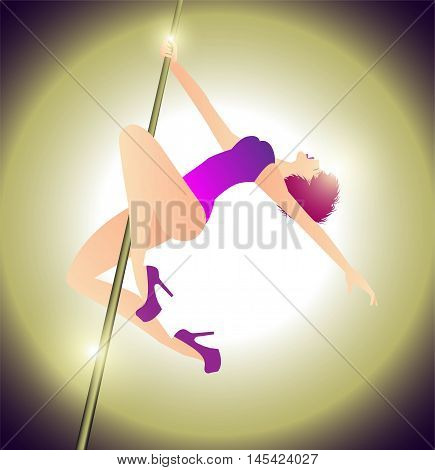 vector illustration of woman practicing pole dance