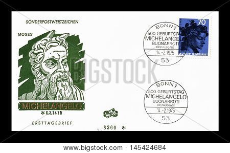 GERMANY - CIRCA 1975 : Cancelled First Day Cover letter printed by Germany, that shows Michelangelo.