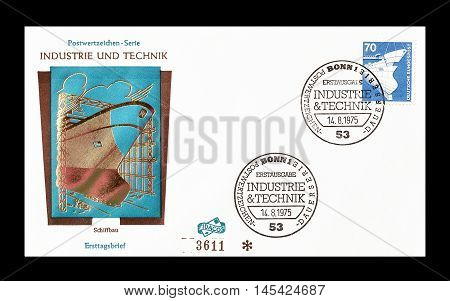 GERMANY - CIRCA 1975 : Cancelled First Day Cover letter printed by Germany, that shows Ship.