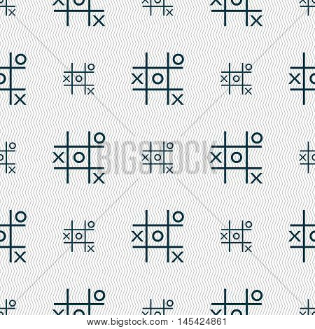 Tic Tac Toe Game Vector Icon Sign. Seamless Pattern With Geometric Texture. Vector