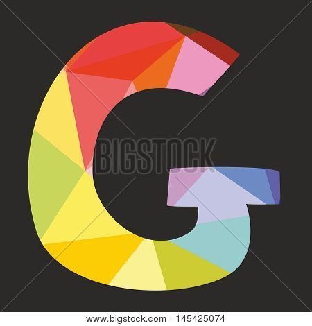 G vector low poly wrapping surface pastel colorful and white alphabet letter isolated on black background