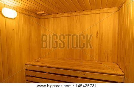Wooden Interior Of Traditional Sauna